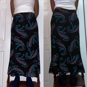 black floral psychedelic maxi skirt